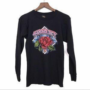 HARLEY-DAVIDSON Black Thermal Waffle Knit Shirt L